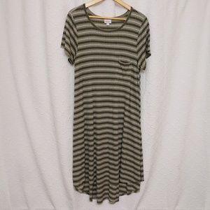 Lularoe Carly Dress Green Stripped